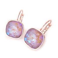 Cappuccino Delite Crystal Drop Earrings w/ Cushion Swarovski Rosegold Plate Prom