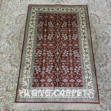 Yilong 2.5'x4' Red Hand Knotted Carpets Silk Handmade All Over Family Rugs 147B