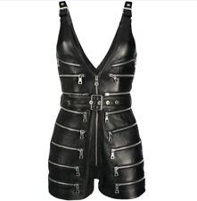 Women Genuine Leather Playsuit / Romper Black V-neck zipped Short