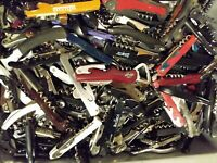Lot of 100 Mixed Corkscrews and Bottle Openers Bar Knives Collection