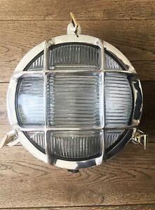 Stylish round polished metal marine bulkhead wall light nautical ships lamp