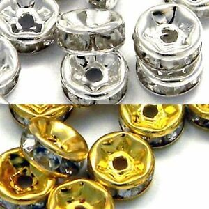 Gold + Silver Plated Rondelle Clear Crystal Rhinestone Craft Spacer Beads 100pcs