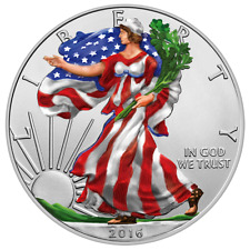 1 Dollar 2016 Silver Eagle Walking Liberty USA 1 Oz. colored Silver Coin  UNC