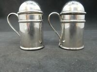 VICTORIAN Pair Solid SILVER Small Kitchen Peppers, Birmingham 1898 Smith Bros