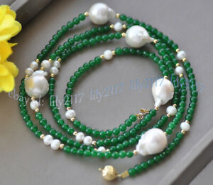 4mm Green Jade Gems Round Beads &White Drop Baroque Keshi Pearl Necklace 18-56''
