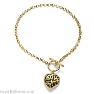 Yellow Gold Plated Sterling Silver Heart Charm Bracelet