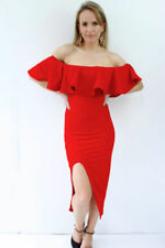 Short Sleeve Red Dresses for Women with Ruffle