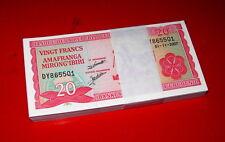 BURUNDI - Bundle Mazzetta 100 pcs x 20 francs 2007 FDS - UNC