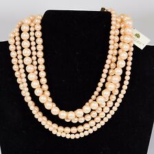 Vintage 50's Richelieu Salmon Color Faux Pearl Choker with Original Tags