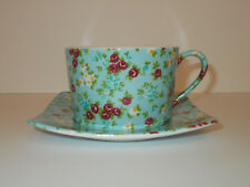 Giordano di Ponzano Cup and Saucer Blue with Floral Chintz GdP Lovely