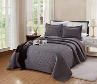 Queen/Full Size Naples Quilt Solid Dark Grey /Gray Bedspread Microfiber Coverlet