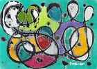 Original modern conceptual abstract canvas acrylic painting wall art blue UK