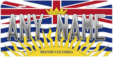 British Columbia Flag Canada Any Text Personalized Novelty Car License Plate