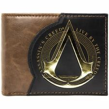 NEW OFFICIAL ASSASSINS CREED LIVE BY THE CREED BROWN ID & CARD BI-FOLD WALLET