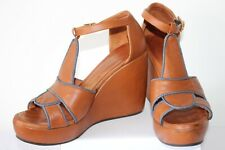 CHIE MIHARA  LADIES FAB TAN LEATHER PLATFORM SHOES SANDALS SIZE 39  MUST SEE !