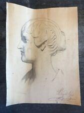 Dessin 19eme Étude Portrait De Femme Gabriel Leydet