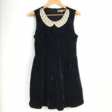 Diamond Angel Black Velvet Tea Dress Peter Pan Collar Pearl Diamante M 8 10
