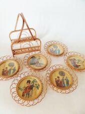 Vintage Bamboo Wicker Coasters Asian Goddess Historical Figures Set of 6 Holder
