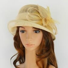 New Woman Church Derby Wedding Sinamay Ascot Cloche Dress Hat DR-06 Ivory