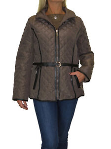 Ladies Plus Size Quilted Jacket, Hood, Lightweight With Belt Brown NEW 12-18