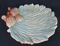 "Pinecone Dish Plate Ceramic Platter Handmade Glazed Serving Tray Green 12"""
