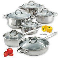 Cook N Home 12-Pc Stainless Steel Cookware Set Pots Pans Glass Lids Home Kitchen