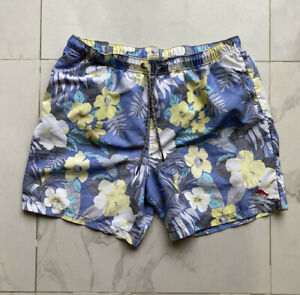 Mens XL Tommy Bahama Relax Board Shorts Blue Floral Swim Trunks Mesh Lined