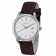 Azzaro Men's Legend White Dial Brown Leather Strap Quartz Watch AZ2040.12AH.000