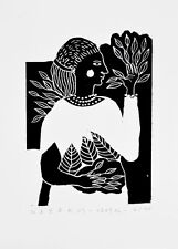 nabARus 020916-6 Linogravure - Linocut - Outsider Art Singulier- 9x13 cm
