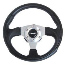 340mm M range black leather sports racing steering wheel with silver centre