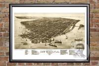 Vintage Key West, FL Map 1884 - Historic Florida Art - Old Victorian Industrial