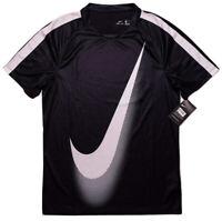 NIKE DRI-FIT Short Sleeve Running Fitness Shirt 845561 Black Large Athletic Fit