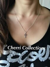 "Women's Silver Plated Small Tiny Cross Pendant Necklace Link Chain 18"" N169"