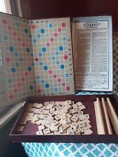 Vintage Scrabble Game 1948 Board Copyright Date 100 letters, board, 3 racks