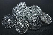 10 Stück Knöpfe, Knopf Ösenknopf transparent, feines Muster, rund, Ø 23 mm K 43