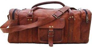 Men's genuine vintage Leather Handmade duffle travel gym weekend overnight bag