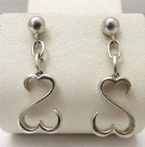 Jane Seymour 10K White Gold & Sterling Silver Open Heart Dangle Earrings