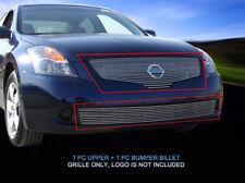 Fits 2007 2008 2009 Nissan Altima Sedan Billet Grille Front Grill Combo 2 Pcs