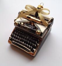 "Polish Hand Blown Painted Glass Christmas Ornament Retro Typewriter 3.5""x3"""