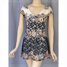 TopShop Black Floral Lace Cap Sleeve Skater Dress Size 4
