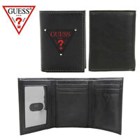 Guess Men's Leather Trifold Credit Card Wallet Black