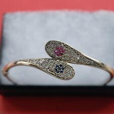 925 Silver Bracelet With Sapphire - Ruby And Topaz Gems 6.5x6 Cm.Wide 5.7 Gr