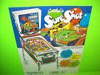 Gottlieb SURE SHOT 1975 Original Flipper Arcade Game Pinball Machine Flyer Rare
