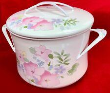 KOBE Enamel Cast Iron Dutch Oven Pot Cookware Japan 3 Qt. Pink Floral