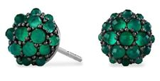 AUTH DAVID YURMAN Osetra Cable Berries Stud Earrings Green Onyx Sterling Silver