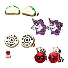 Marvel Deadpool Maximum Effort Enamel Stud Earring Set Officially Licensed