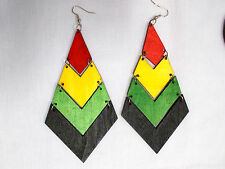 "BIG BOLD RED YELLOW GREEN BLACK ISLANDER RASTA WOOD 4 TIER DANGLING 5"" EARRINGS"