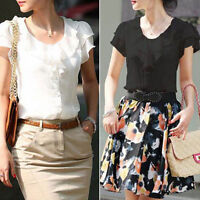 Elegant Womens Lady Loose Short Sleeve Tops Blouse Shirt Casual Chiffon T-Shirt