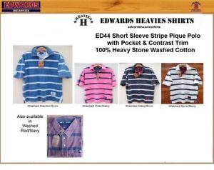 EDWARDS HEAVIES MENS SHORT SLEEVE STRIPED POLO PIQUE MANS WASHED EDWARD HEAVY