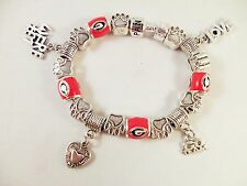 "UNIVERSITY OF GEORGIA BULLDOGS Red ""G"" Beads Silver Charm Bracelet Official NCAA"
